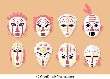 African Mask Icons Flat Design Tribal ritual symbols