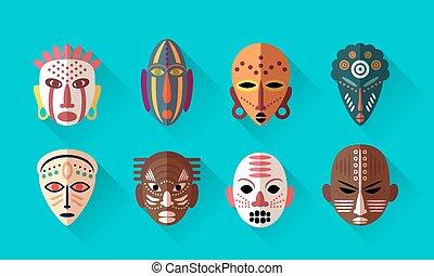 African Mask Icons Flat Design with long shadows