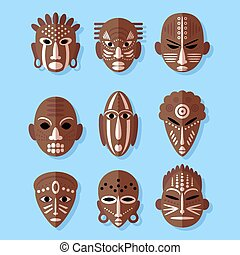 African Mask Icons. Flat Design. Tribal ritual symbols