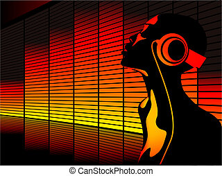 Music woman - Abstract vector of woman listening to music...
