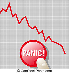 Can we panic - Abstract vector illustration of a downward...