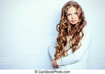 cardigan - Lovely teenager girl with beautiful long curly...