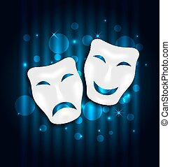 Comedy and tragedy theatre masks on blue shimmering...