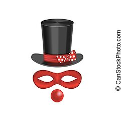 Accessories for clown - hat, mask, red nose are isolated on white background