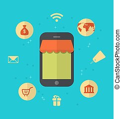 Flat icons of online shopping and online payment -...