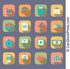 Set flat icons of web design objects, business, office and marketing items, long shadow style