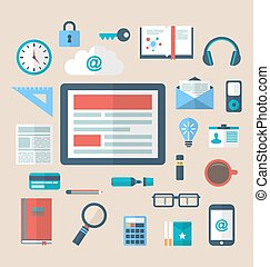 Flat icons of trendy everyday objects, office supplies and business items for daily usage