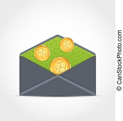 Open envelope with golden coins for St. Patrick's Day