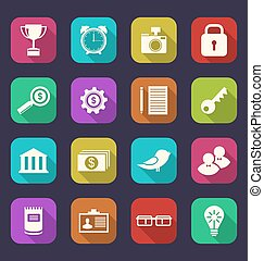 Set flat icons of business, office and financial items,...
