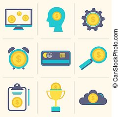Flat icons of financial and business items - Illustration...