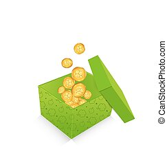 Open cardboard box  with golden coins for St. Patrick's Day, isolated on white background