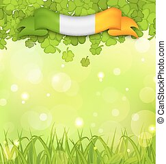 Glowing nature background with shamrocks, grass and Irish flag for St. Patrick's Day