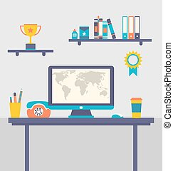 Flat design of office workspace creative worker