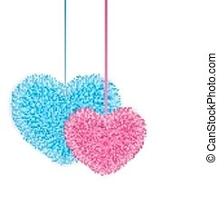 Fur pink and blue hearts for Valentines Day isolated on white background
