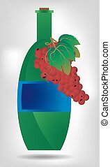 Green bottle of wine with red grapes
