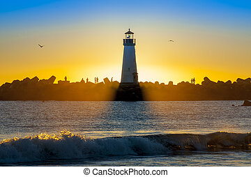Lighthouse with light beam at sunset