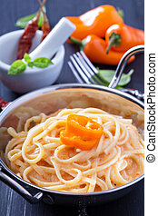 Linguine pasta with roasted red pepper sauce - Linguine...