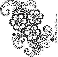 Hand-Drawn Abstract Henna Mehndi Flower Ornament - Doodle...