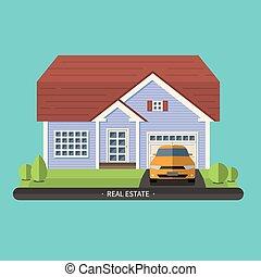 Flat design illustration of residential house - Flat design...