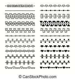 Hand drawn vector line border set and scribble design...