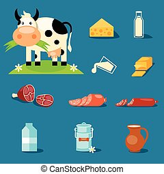 Dairy Products - cute cartoon illustration of a cow and...