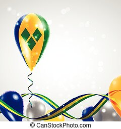 Flag of Saint Vincent and the Grenadines on balloon - Flag...