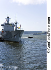 HMNB Devonport - Warship in Her Majestys Naval Base...