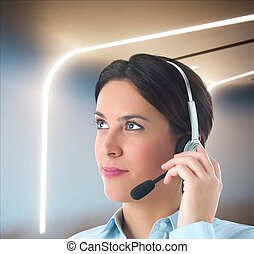 Customer support - Woman works to customer support in...