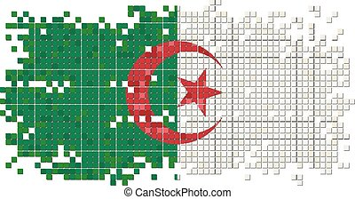 Algerian grunge tile flag Vector illustration Eps 8
