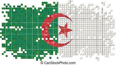 Algerian grunge tile flag. Vector illustration Eps 8.