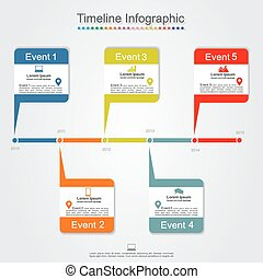 Timeline infographics with elements