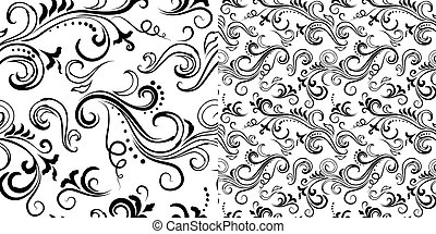 Seamless floral patterns set - Black and white seamless...