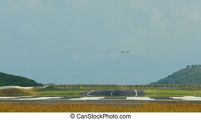 Final approach - Airplane approaching before landing,...