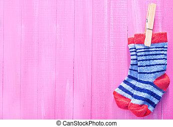 bebé, calcetines,