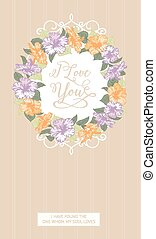 Vertical card with floral frame.