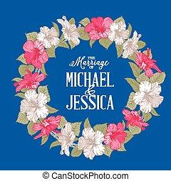 Rose mallow garland. - Rose mallow garland over blue...