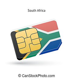 South Africa mobile phone sim card with flag.