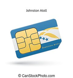 Johnston Atoll mobile phone sim card with flag. Vector...