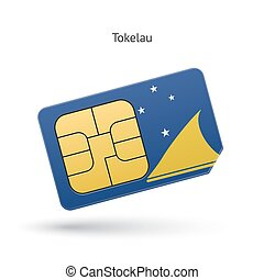 Tokelau mobile phone sim card with flag Vector illustration...