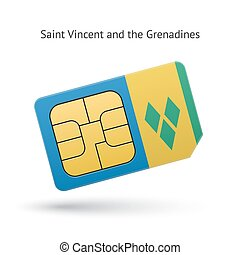 Saint Vincent and the Grenadines phone sim card with flag....