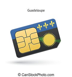 Guadeloupe mobile phone sim card with flag Vector...