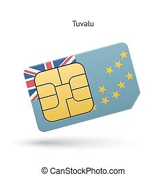 Tuvalu mobile phone sim card with flag Vector illustration