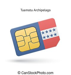 Tuamotu Archipelago phone sim card with flag. Vector...