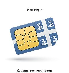 Martinique mobile phone sim card with flag Vector...