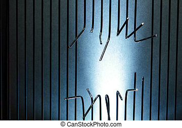 Escape From Prison - Background made from sawed metal bars...
