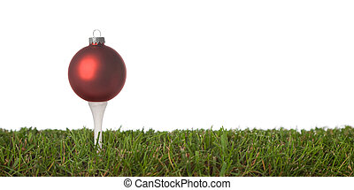 golf ornament - christmas golf-ball isolated on a white...