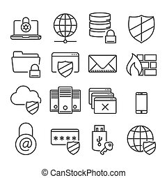 Information technology security icons. Plain line -...