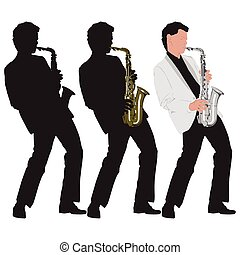 abstract music illustration with saxophone player - abstract...