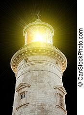 lighthouse illuminated