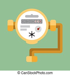 Water meter. Vector flat icon - Fragment of the water pipes...